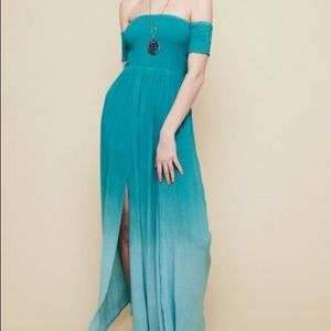 Lynne Teal Ombré Maxi Dress